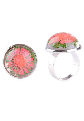 www.sayila.be - Metalen vingerring met giethars gedroogde bloemen cabochon 29x22mm