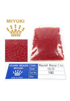 www.sayila.com - Miyuki Glass seed beads 15/0 ± 1,6x1mm (± 1250 pcs) - Transparant Red Orange 140