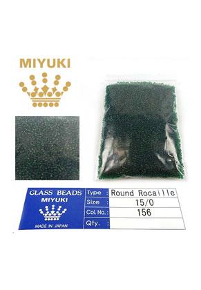 www.sayila.nl - Miyuki Glas rocailles/borduurkralen 15/0 ± 1,6x1mm (± 1250 st.) - Transparant Dark Emerald 156
