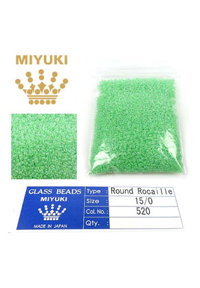 www.sayila.nl - Miyuki Glas rocailles/borduurkralen 15/0 ± 1,6x1mm (± 1250 st.) - Ceylon Mint Green 520
