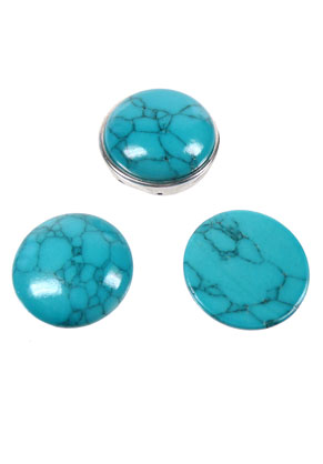 www.sayila.nl - Turquoise howlite, plaksteen/cabochon rond 24x6,5mm