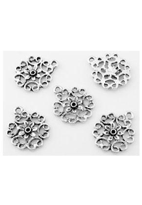 www.sayila.nl - Metalen hangers/bedels bloem 18x15mm met kastje voor similisteen 1,5mm