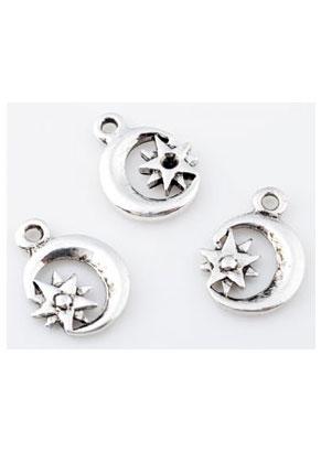www.sayila.nl - Metalen hangers/bedels maan en ster 20x15mm met kastje voor similisteen 3mm