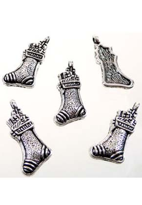 www.sayila.com - Metal pendants/charms Christmas stocking ± 23x11mm (± 50 pcs.)