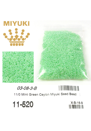 www.sayila.nl - Miyuki glas rocailles 11/0- Ceylon Mint Green 520 (± 5500 st.)