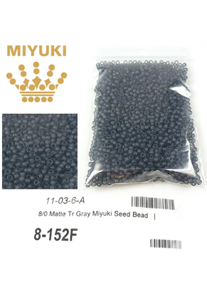 www.sayila.com - Miyuki glass seed beads 8/0- Transparant Matte Gray 152 F (± 1950 pcs.)