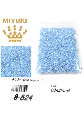 www.sayila.nl - Miyuki glas rocailles 8/0- Ceylon Sky Blue 524 (± 1950 st.)