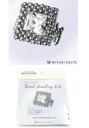 www.sayila-perlen.de - Miyuki Schmuckpaket Fingerring 'Square Motif Ring' no.BFK-78 (inklusive Anleitung)