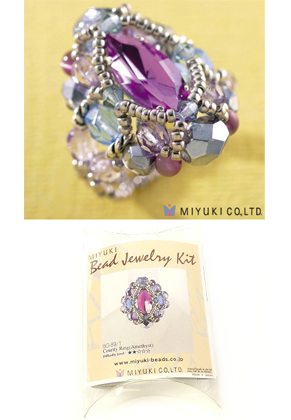 www.sayila.com - Miyuki jewelry kit finger ring 'Courtly Ring (Amethyst)' no.B0-89/1 (including instructions)