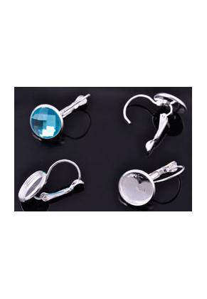 www.sayila.be - Metalen klap oorbellen met kastje voor ± 12mm plaksteen ± 26x14mm