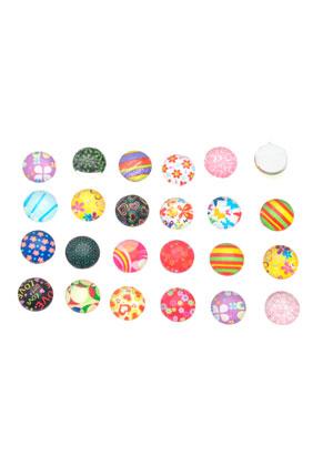 www.sayila.nl - Mix glas plakstenen versierd ± 9,8mm ± 3,5mm dik (geschikt voor ± 10mm kastje)