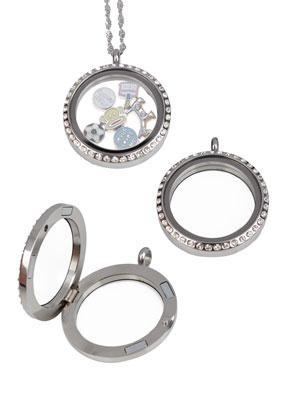 www.sayila.nl - Metalen (roestvrij staal) hanger/bedel medaillon 'Floating Charm Locket' met glazen kastje (± 23x3mm), strass en magnetische sluiting ± 36x30mm (gat ± 4mm) (waarschuwing: niet voor mensen met een pace