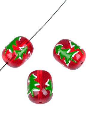 www.sayila.com - Glass beads Christmas tree oval 18x14mm