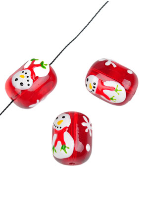 www.sayila.com - Glass beads snowman oval 18x14mm