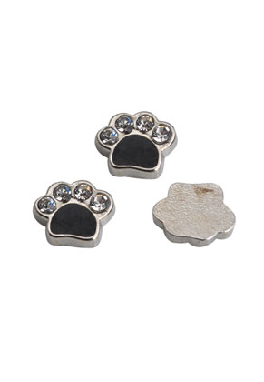 www.sayila-perlen.de - Metall Floating Charm Hundenpfote mit Strass 7x8mm