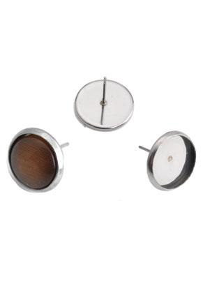 www.sayila-perlen.de - Metall (Edelstahl) Ohrstecker für 6,5mm Klebstein 12x8mm
