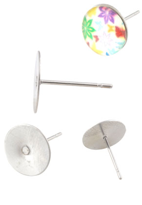 www.sayila.nl - Roestvrijstalen oorstekers 12x12mm voor plaksteen > 12mm
