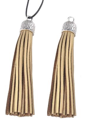 www.sayila.com - Imitation leather tassels with metal cap 90x13mm
