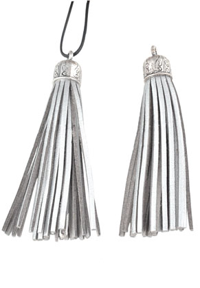 www.sayila.com - Imitation leather tassels with metal cap 90x13mm