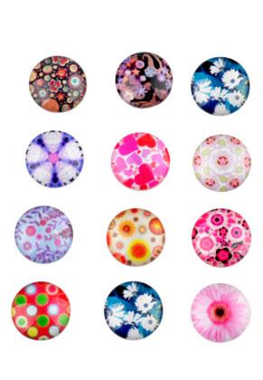 www.sayila-perlen.de - Mix Glas Klebsteine/Cabochon rund 12mm