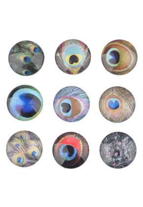 www.sayila.nl - Mix glas plakstenen/cabochons rond met pauwenveren 16mm