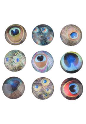 www.sayila.nl - Mix glas plakstenen/cabochons rond met pauwenveren 18mm