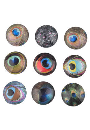 www.sayila.com - Mix glass flat backs/cabochons round with peacock feathers 25mm