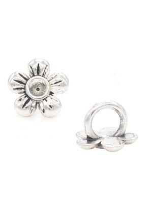 www.sayila.es - Estilo agujero-grande abalorios de metal flor 12x9mm con cuadro para 3,1mm imitacion de diamante