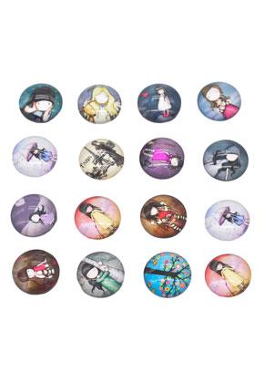 www.sayila.nl - Mix glas plakstenen/cabochons rond met meisje 16mm