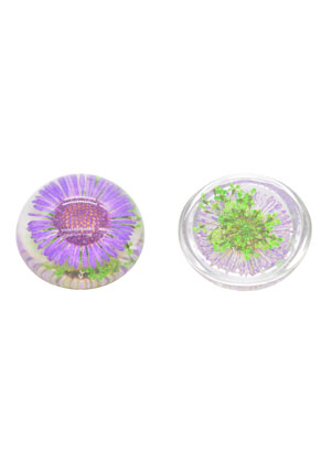 www.sayila.nl - Giethars gedroogde bloemen plakstenen/cabochons rond 25mm