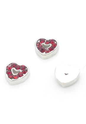 www.sayila.fr - Floating Charms en métal coeur avec strass 7mm