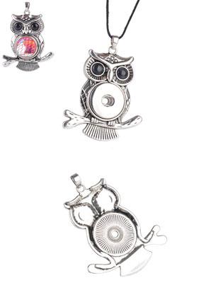 www.sayila.com - DoubleBeads EasyButton L metal pendant owl 57x44mm