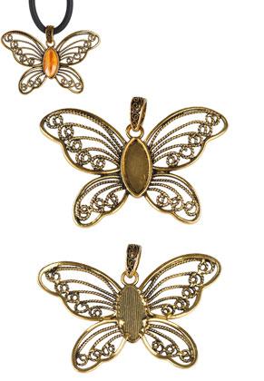 www.sayila.be - Metalen hangers vlinder 76x52mm met kastje voor 22x10mm plaksteen
