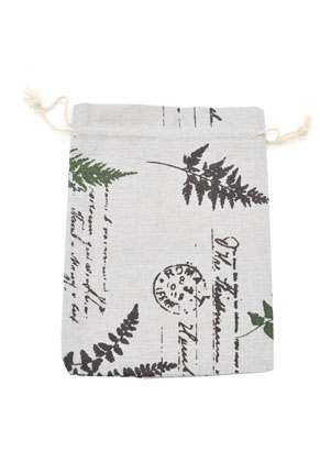 www.sayila.com - Textile gift bags with leaves 20x15cm