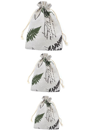 www.sayila.com - Mix textile gift bags with leaves 14-20cm