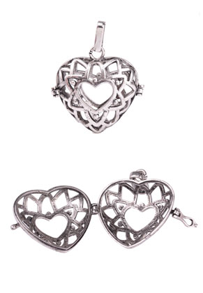 www.sayila.com - Metal pendant angel caller/Prayer Box heart 39x31mm