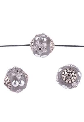 www.sayila-perlen.de - Metall Kashmiri Perlen mit Polymerton aus Knete rund 19mm