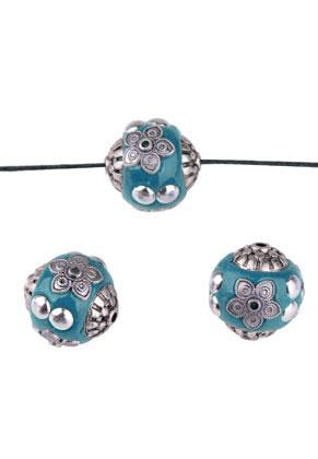 www.sayila.com - Metal Kashmiri beads with polymer clay round 19mm