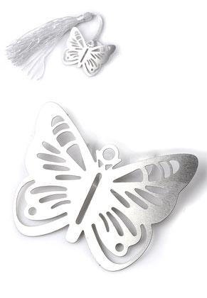www.sayila.nl - Roestvrijstalen boekenleggers/hangers vlinder 44x34mm