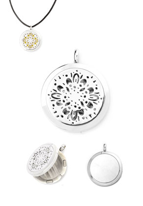 www.sayila.com - Stainless steel DoubleBeads EasySwitch pendant/perfume locket DQ 37x30mm for 21mm felt disc