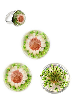 www.sayila.fr - Cabochons en résine circulaire avec fleurs séchées DQ 20mm