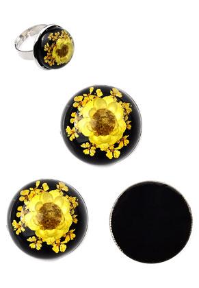 www.sayila.nl - Giethars gedroogde bloemen plakstenen/cabochons DQ rond 20mm