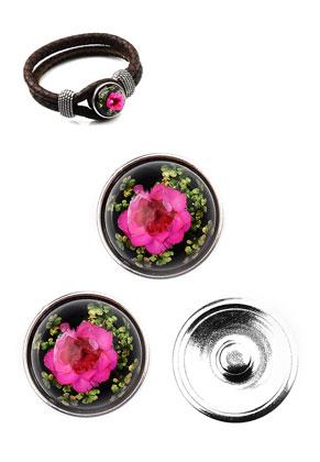 www.sayila.nl - Metalen DoubleBeads EasyButton drukknopen DQ maat L met giethars gedroogde bloemen cabochon