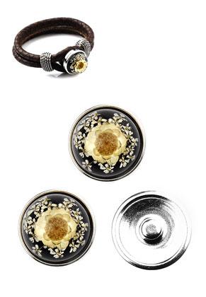 www.sayila.es - Botones de presión DoubleBeads EasyButton de metal DQ tamaño L con cabujón de resina con flores secas