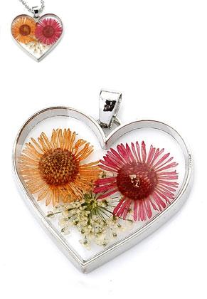 www.sayila-perlen.de - Metall Anhänger mit Glas und Trockenblumen Herzchen 35x34mm