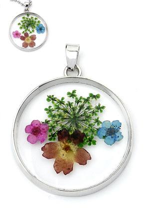 www.sayila.com - Metal pendant with glass and dried flowers round 43x34mm