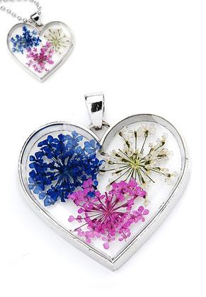 www.sayila.com - Metal pendant with glass and dried flowers heart 35x34mm