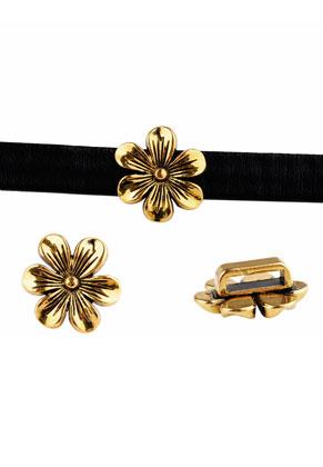 www.sayila-perles.be - Perles coulissantes en métal fleur 20x7mm