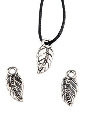 www.sayila.com - Metal pendants/charms feather 17x7mm
