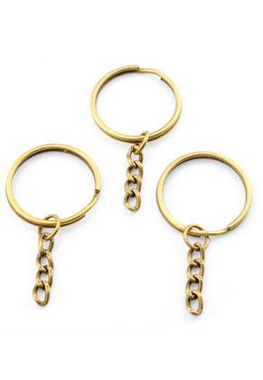 www.sayila.com - Metal key fob ring with chain 55x28mm